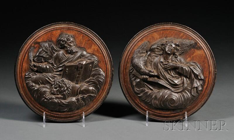 Two Bronze Plaques of Evangelists