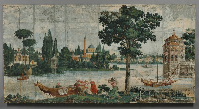 "Polychrome-painted Wallpaper Mural ""On the Banks of the Bosporus,"""