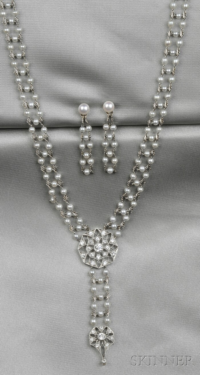Edwardian Platinum, Seed Pearl, and Diamond Necklace