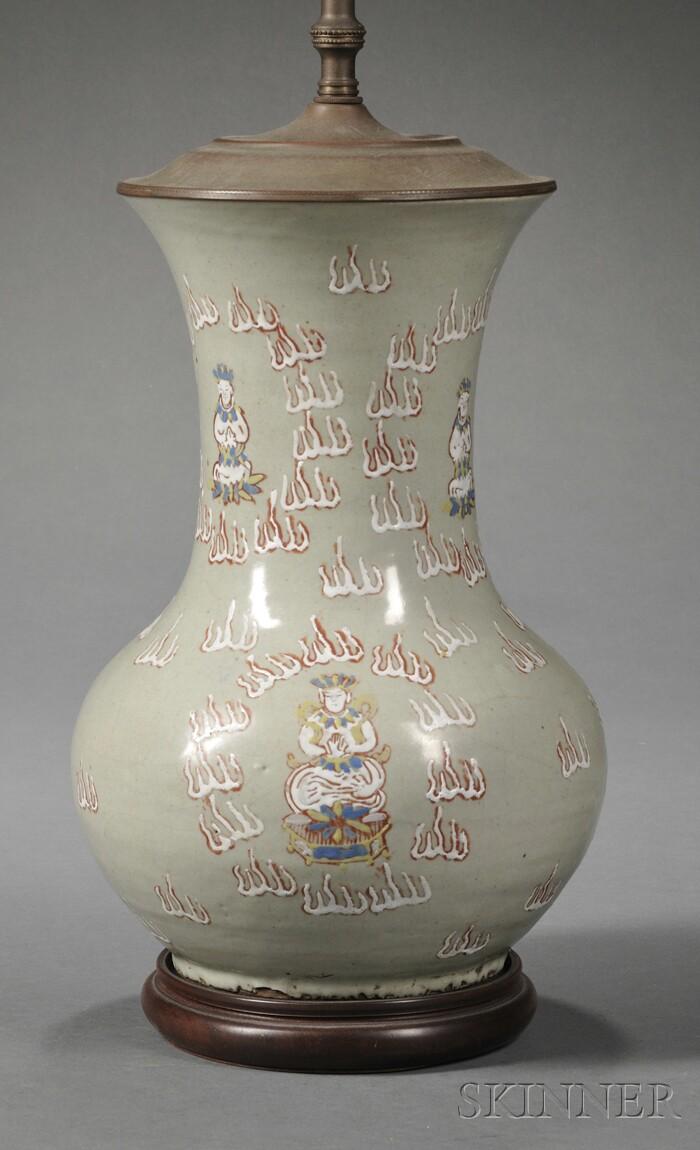 Asian Celadon-glazed Earthenware Vase Lamp Base