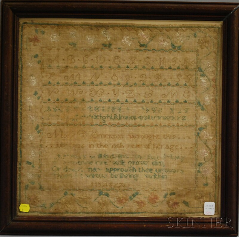 Framed 1824 Mary Emerson Needlework Sampler