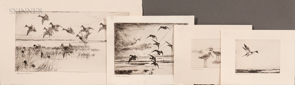 Frank Weston Benson (American, 1862-1951)    Four Waterfowl Prints: Dawn