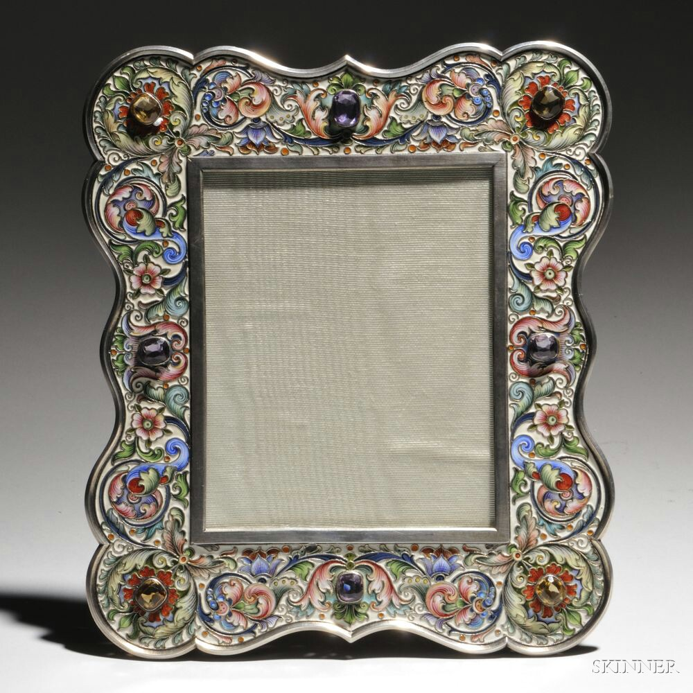 Russian Gem-set and Cloisonné-enameled .875 Silver Frame