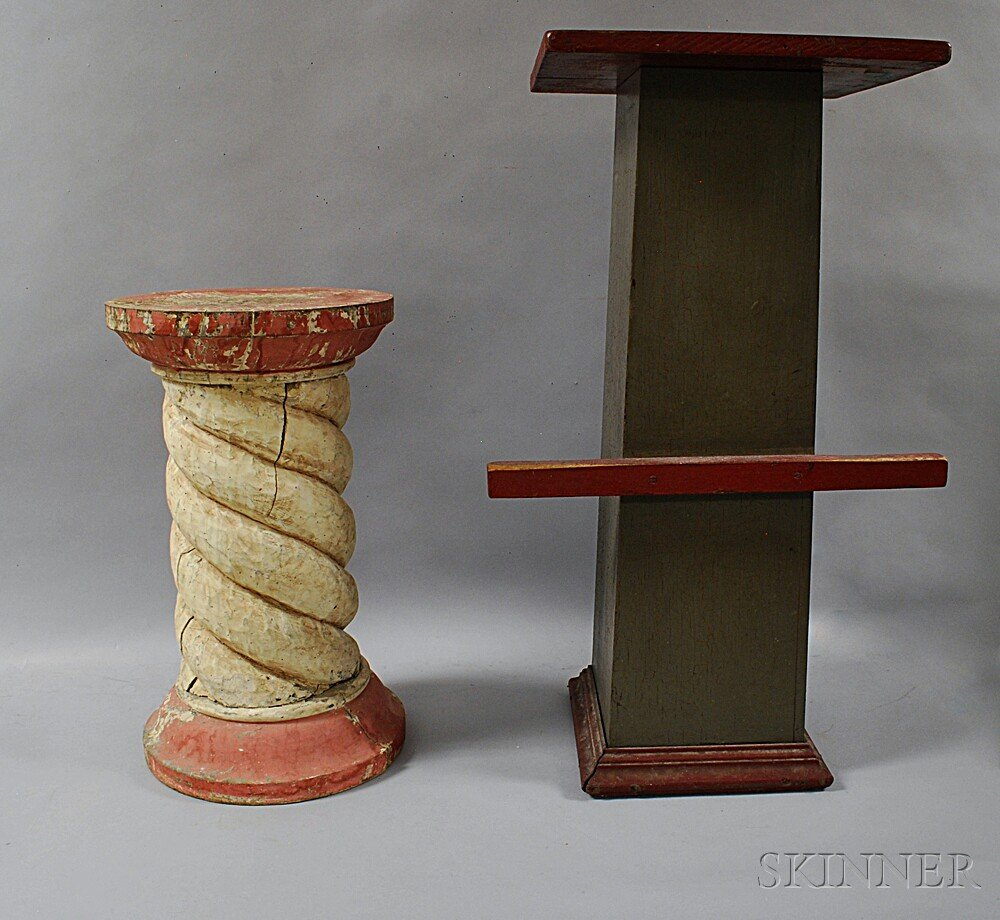 Two Painted and Carved Pedestals