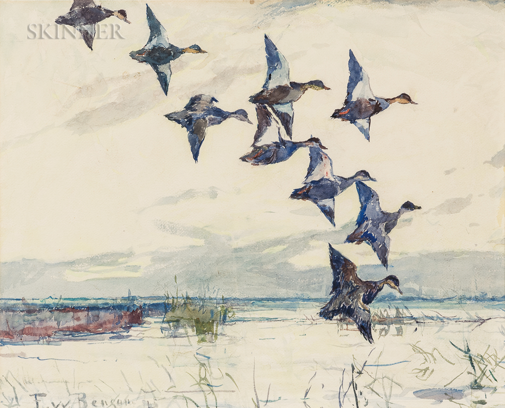 Frank Weston Benson (American, 1862-1951)      Ducks in Flight at Dusk