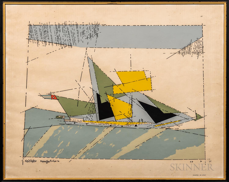 Lyonel Feininger (American, 1871-1956)      Two Framed Prints: Toppsegelschoner