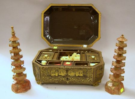 Pair of Miniature Carved Soapstone Temples and a Chinese Export Lacquer Sewing Box with Contents.