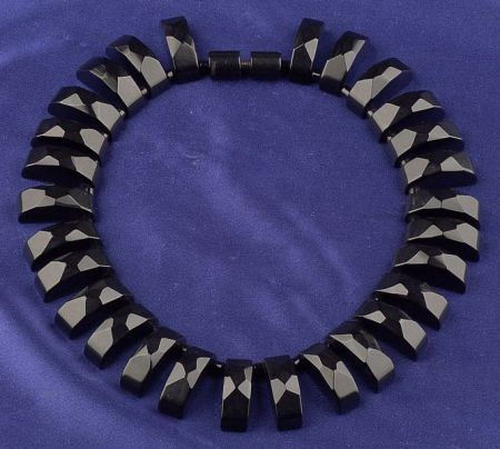 Bakelite Faceted Licorice Fringe Necklace