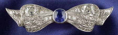 Art Deco Platinum, Sapphire, and Diamond Bow Brooch