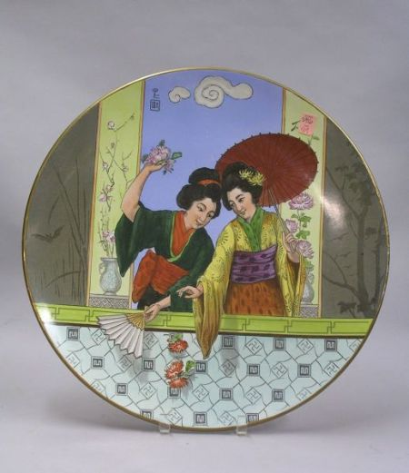 Villeroy & Boch/Mettlach Transfer and Hand-painted Japanese Women Decorated   Ceramic Plaque