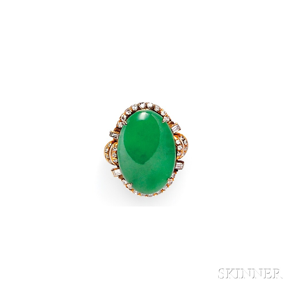 18kt Gold, Jade, and Diamond Ring