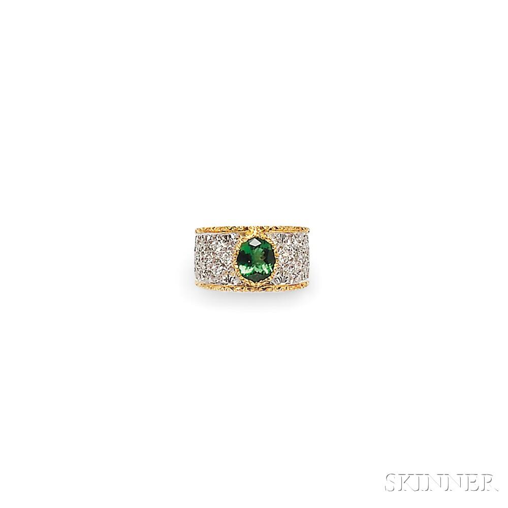 18kt Gold, Green Tourmaline, and Diamond Ring, Andrew Sarosi