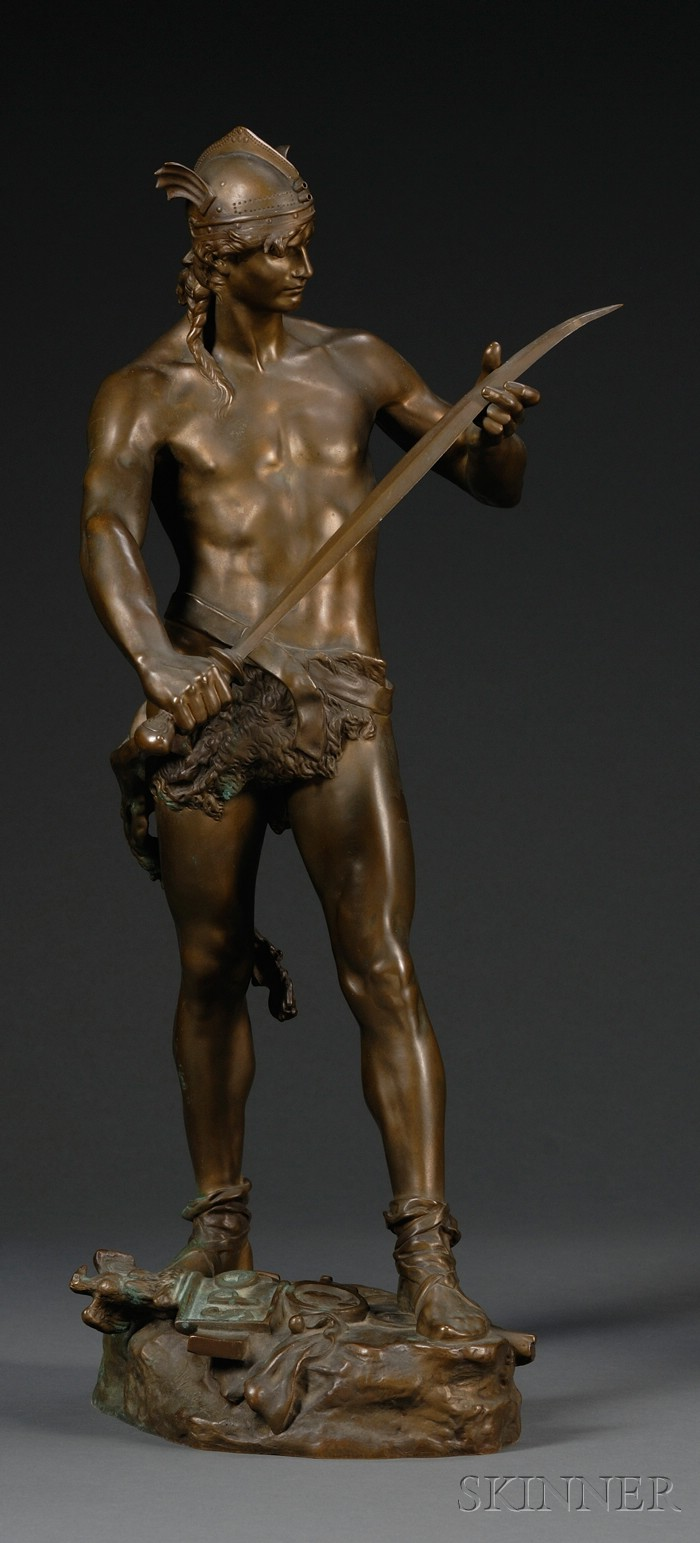 Andre-Paul-Arthur Massoulle (French, 1851-1901),       Bronze Figure of a Warrior, Sword of Valor