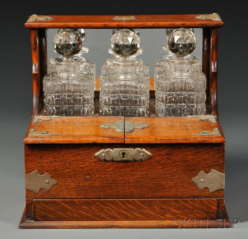 Victorian Oak Three-bottle Tantalus