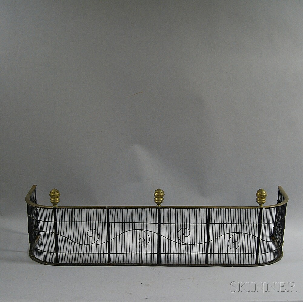 Brass and Iron Wirework Fire Fender