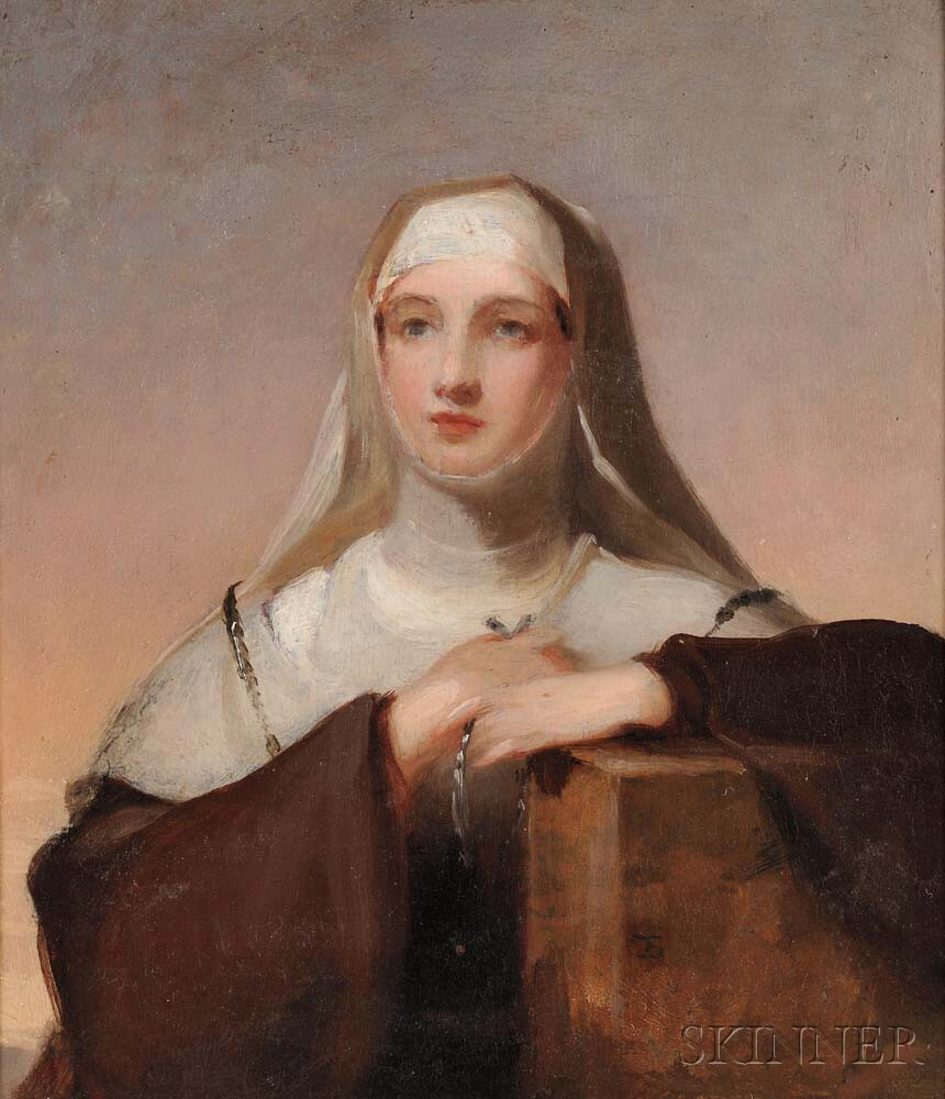 """Thomas Sully (American, 1783-1872)      Study for Frances Anne Kemble as Isabella in """"Measure for Measure"""""""