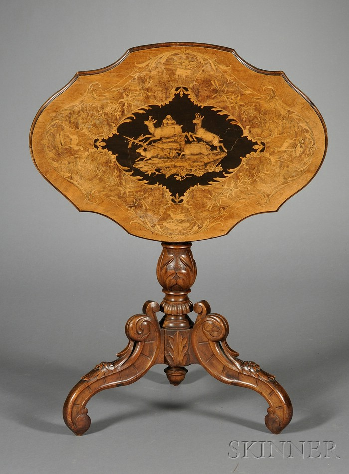 South German Marquetry-inlaid and Carved Walnut Tilt-top Table