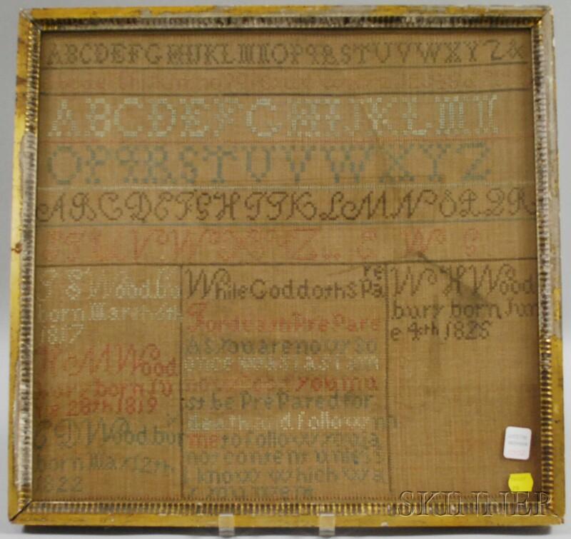 Framed Early 19th Century Needlework Wood Family Register/Sampler