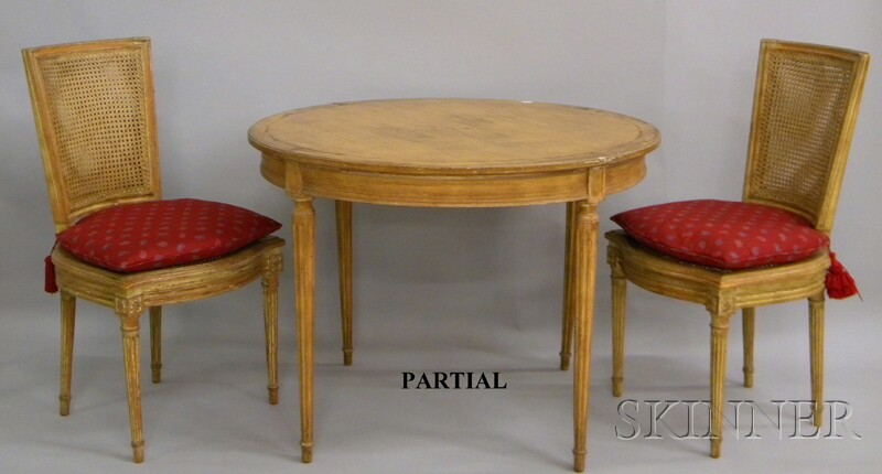 Five-piece Louis XVI-style Painted Carved Wood Dining Set