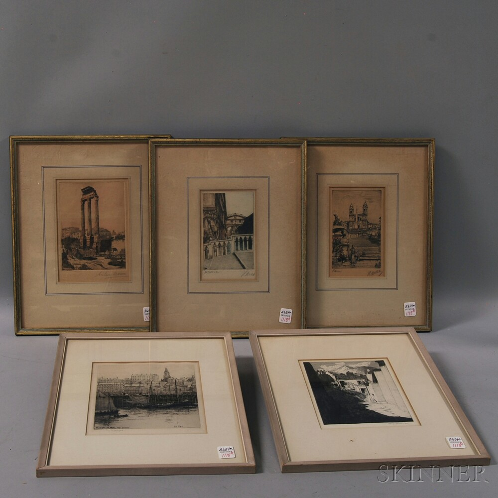 Five Framed European Landscape Etchings