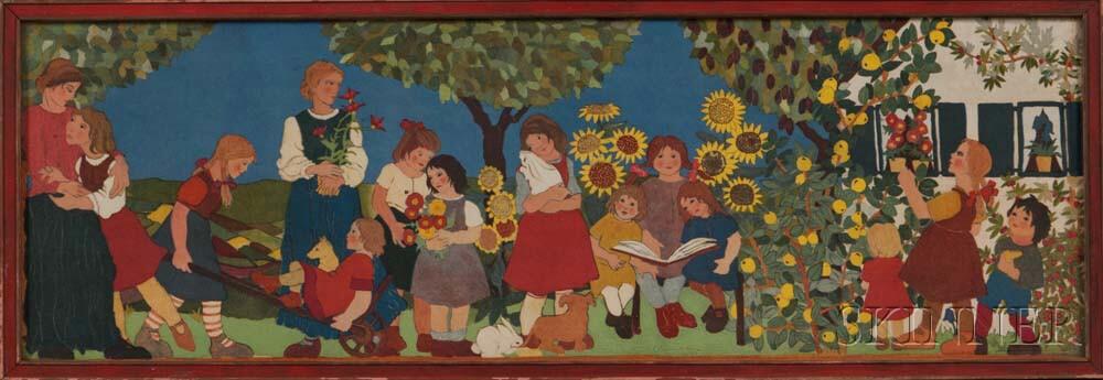 Ilse Breit (Austrian, 20th Century)      Sunflowers   From Professor Cizek's Juvenile Art Class