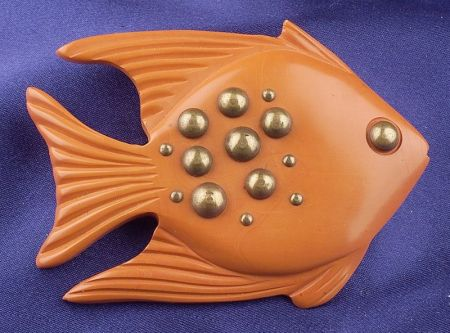 Bakelite and Brass Stud Butterscotch Fish Brooch