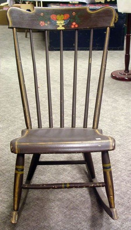 Early 19th Century Painted and Stencil Decorated Rocker.