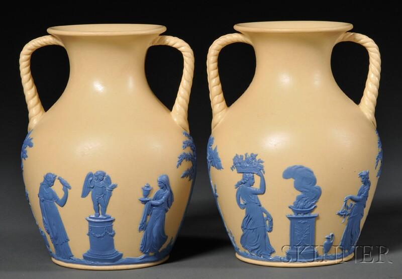 Pair of Wedgwood Smear Glazed Caneware Vases