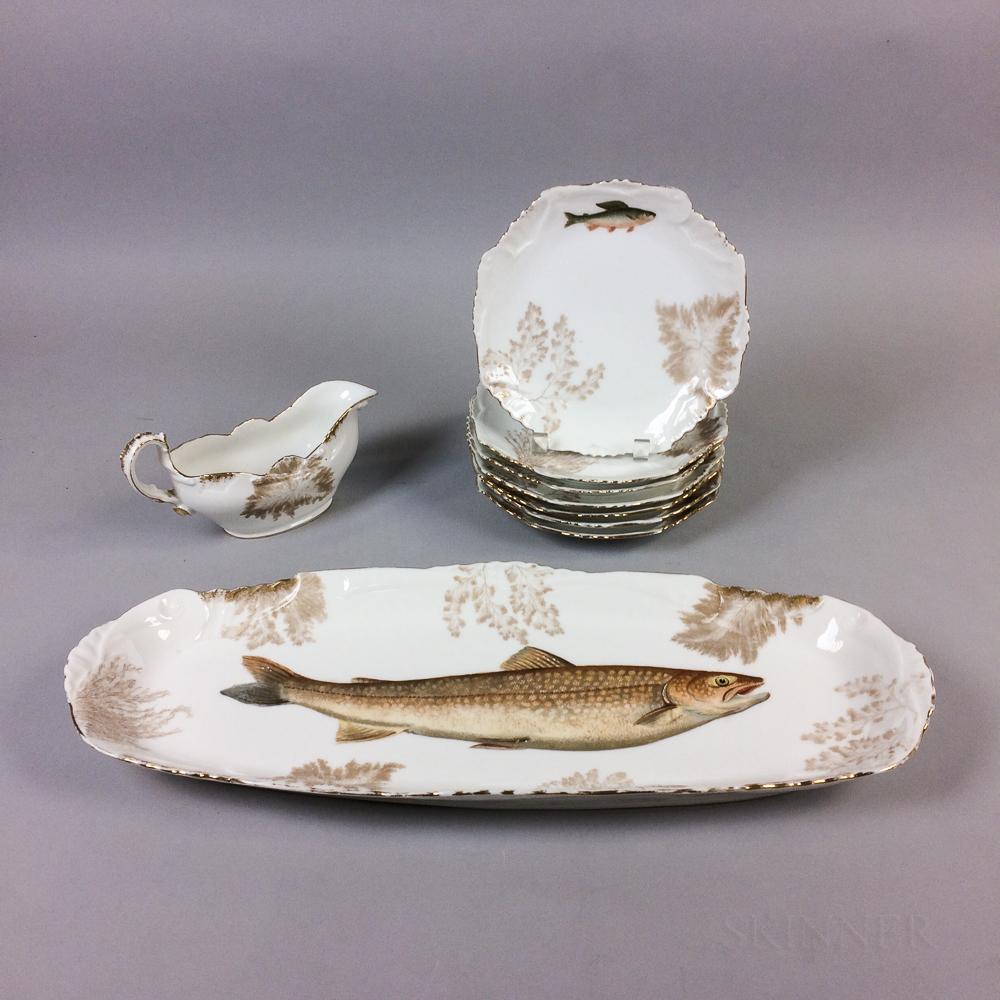 Nine-piece Limoges Porcelain Fish Set