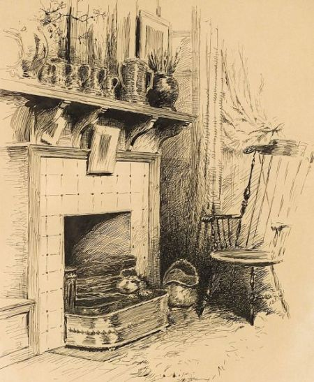 Attributed to Arthur Burdett Frost (American, 1851-1928)    A Chair by the Fire
