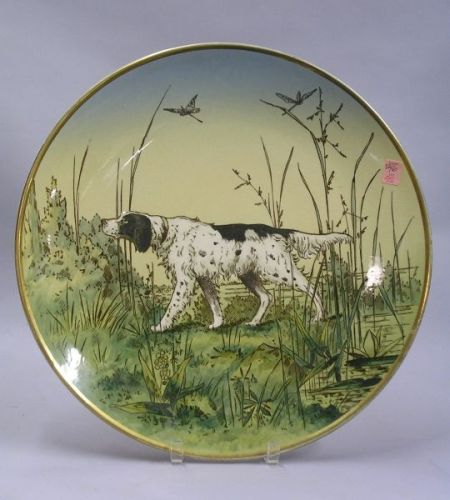 Villeroy & Boch/Mettlach Transfer and Hand-painted Hunting Scene with Spaniel   Decorated Ceramic Plaque