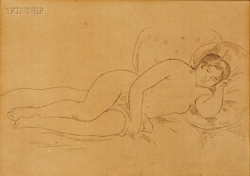 Pierre-Auguste Renoir (French, 1841-1919)      Femme nue couchée, tournée à droite (2e planche)