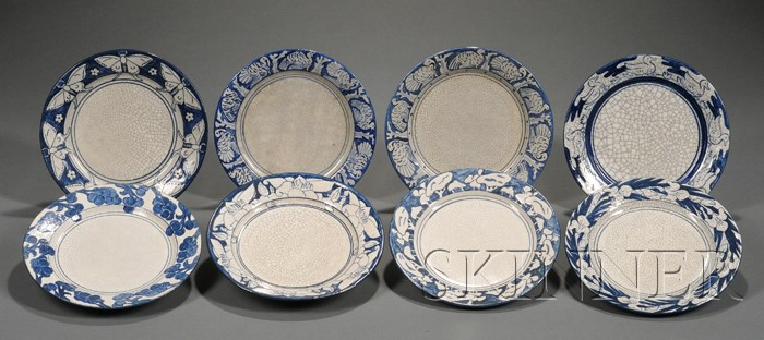 Eight Dedham Pottery Decorated Plates