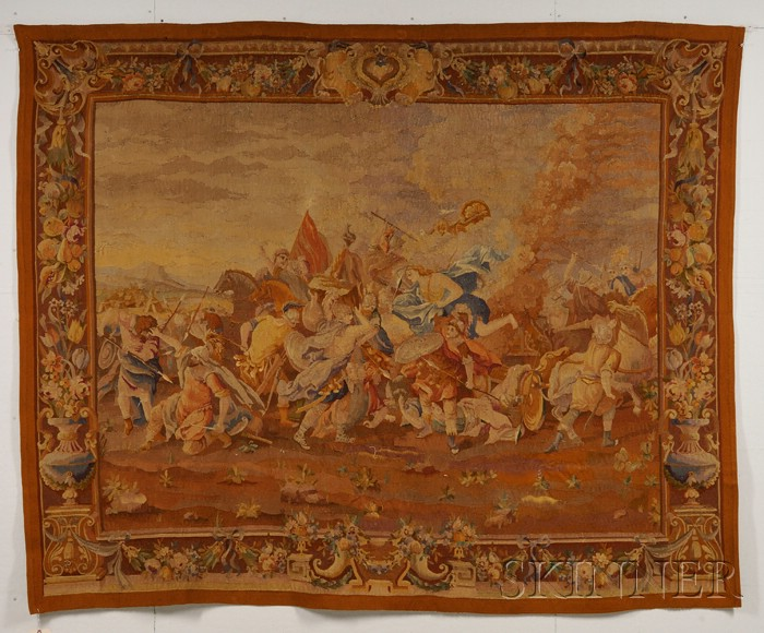 Aubusson-type Wool Tapestry Wall Hanging of a Roman Battle