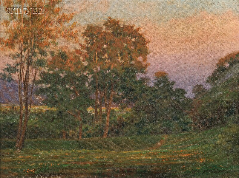 Cyrus Bates Currier (American, 1868-1946)      Southern California Landscape at Dusk.