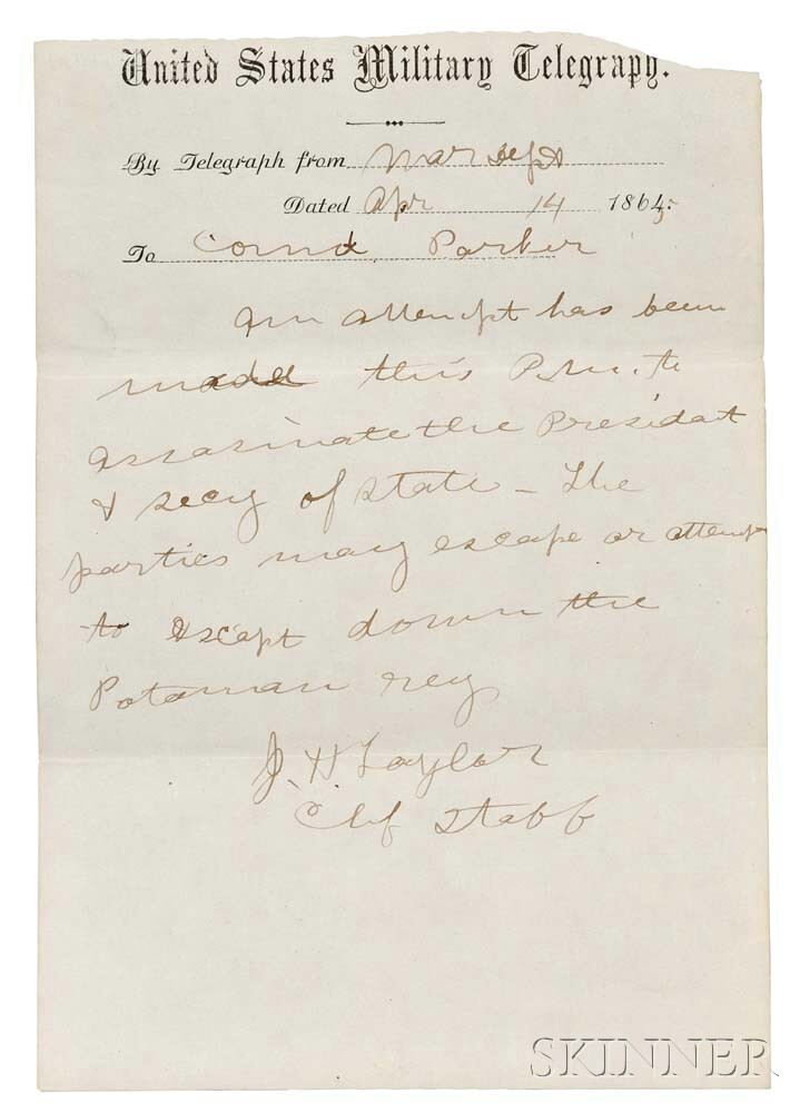 Lincoln, Abraham (1809-1865) A Collection of Nine U.S. Military Telegraph Messages Related to Lincoln's Assassination.