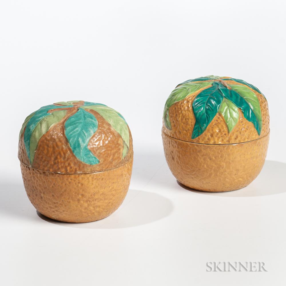 Two English Orange-form Stoneware Biscuit Jars