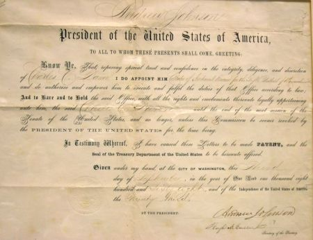 Johnson, Andrew, Document Signed, September 3, 1868, IRS Appointment