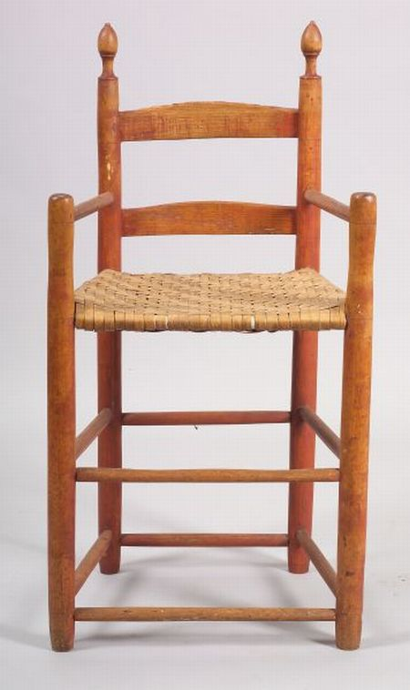 Red Stained Maple and Ash Weaver's Chair