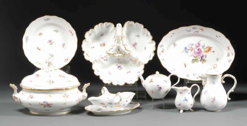 Assembled Meissen Porcelain Partial Dinner and Tea Service