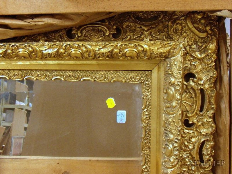 Victorian Rococo Revival Giltwood and Gesso Mirror with Beveled Glass