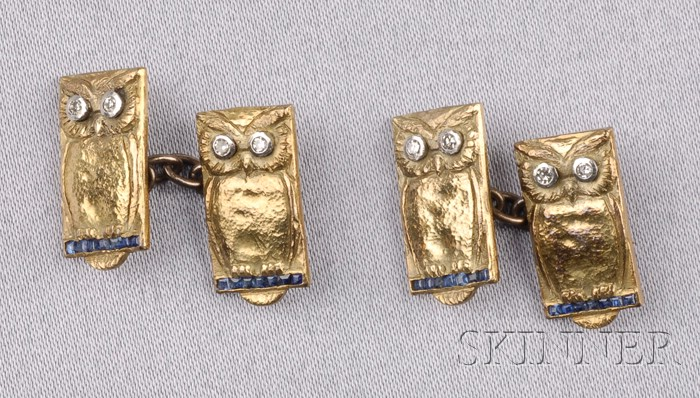 Sapphire and Diamond Owl Cuff Links