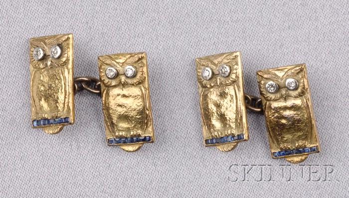Sapphire and Diamond Owl Cuff Links