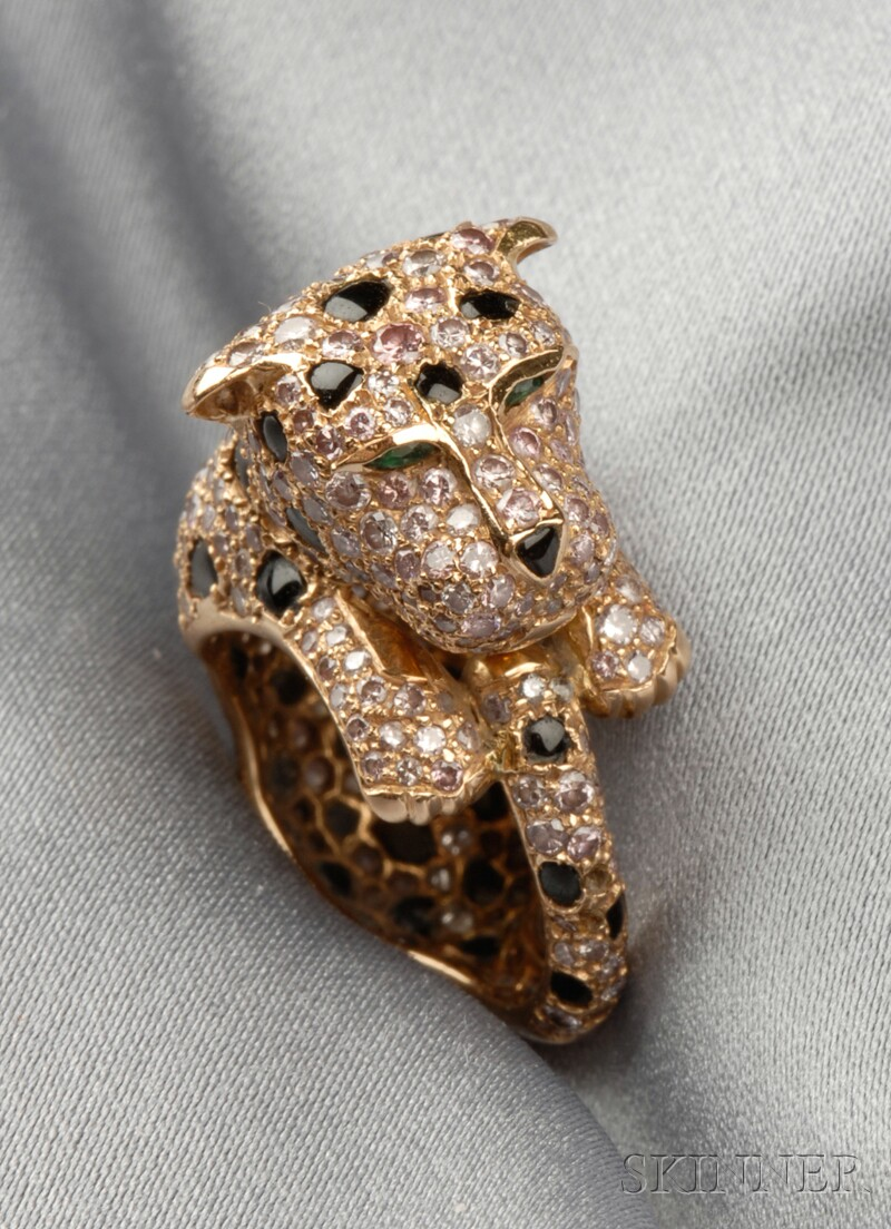 18kt Rose Gold, Colored Diamond, and Onyx Panther Ring