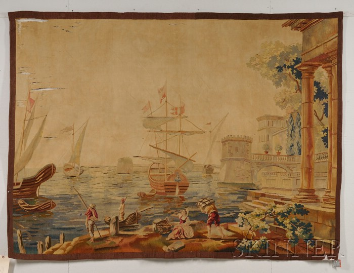 Aubusson-type Wool Tapestry Wall Hanging