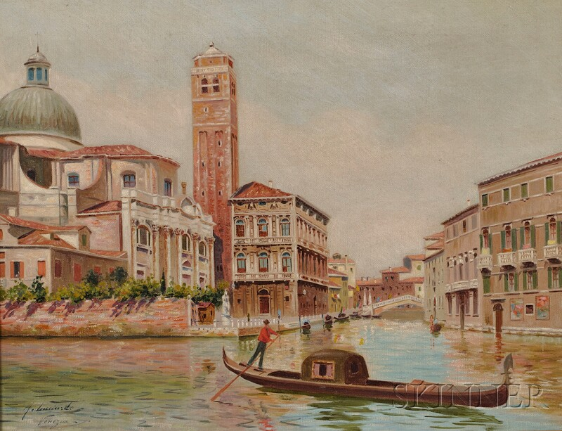 Italian School, 20th Century      Canal View, Venice.