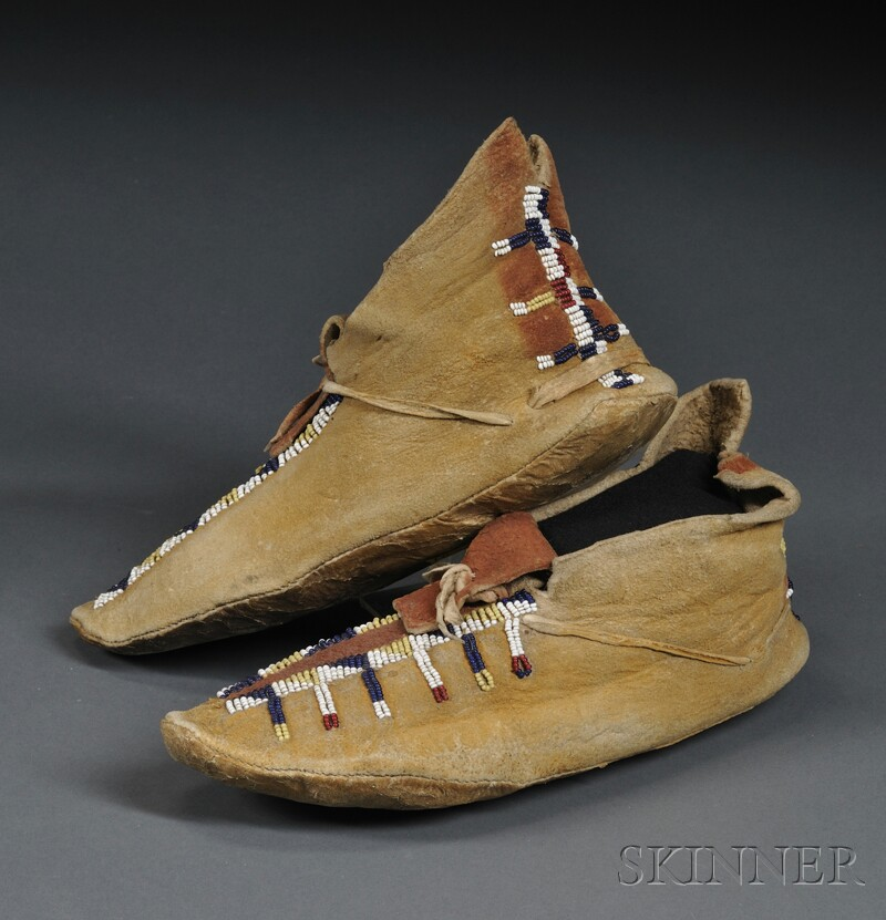 mescalero apache beaded hide moccasins sale number 2596b