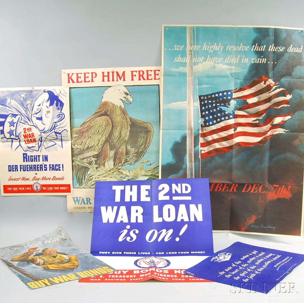 Eight Vintage and Reproduction War Bonds Posters