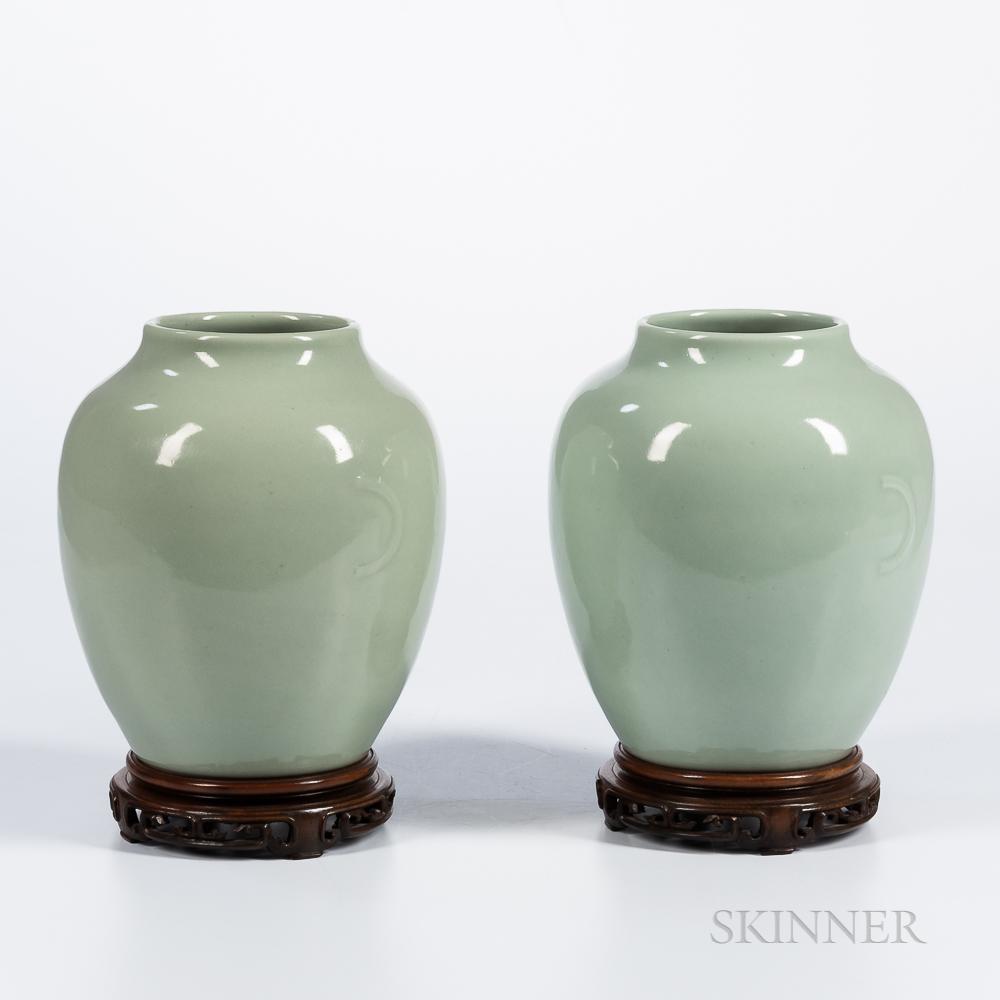 Near Pair of Celadon-glazed Jars
