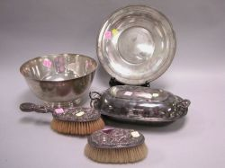Sterling Silver and Silver Plated Revere-style Bowl, Salver, Covered Serving Dish and Vanity Brushes.